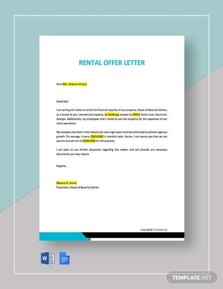 rental offer letter template