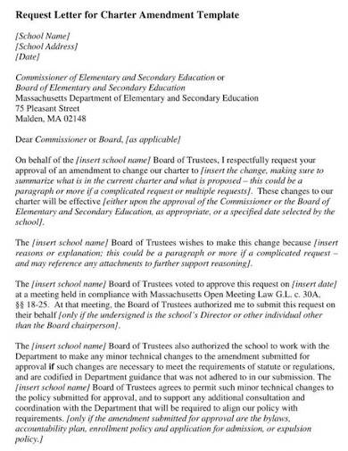 request letter for change amendment
