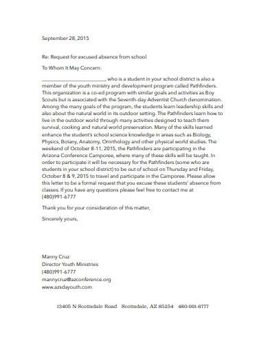 request for excused absence letter