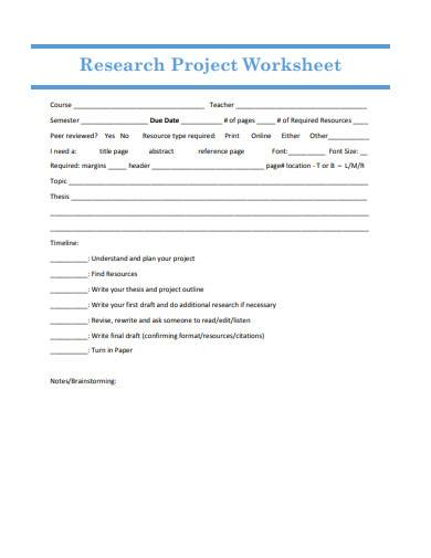research project worksheet sample