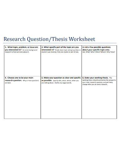 research question thesis worksheet