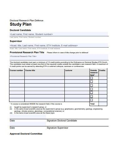 research study plan template