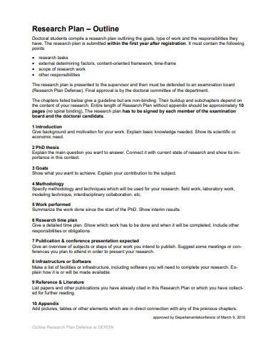 research work plan outline sample
