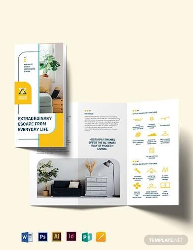 residential apartment tri fold brochure