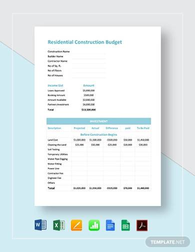 residential construction budget template