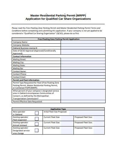 residential parking permit application