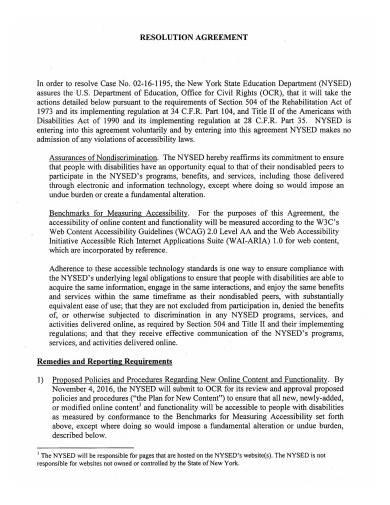 resolution agreement template