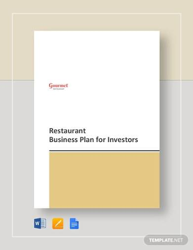 restaurant business plan for investors