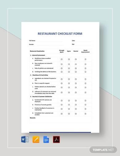 restaurant checklist form template