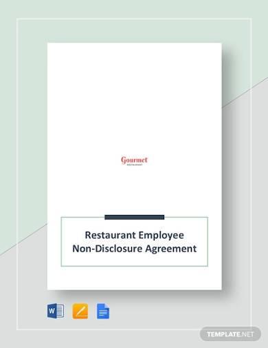 restaurant employee non disclosure agreement