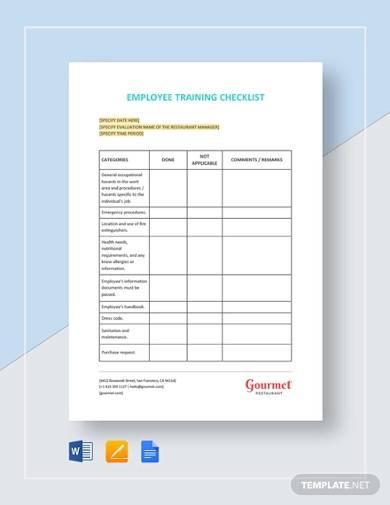 restaurant employee training checklist
