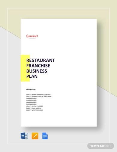 restaurant franchise business plan template