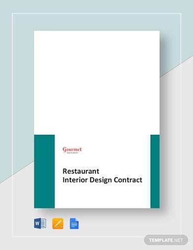 restaurant interior design contract template
