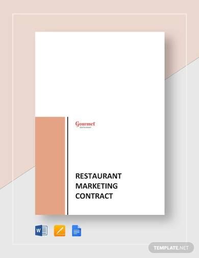 restaurant marketing contract sample