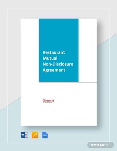 restaurant mutual nondisclosure agreement