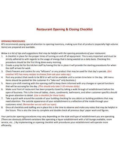 restaurant opening and closing checklis
