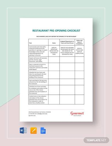 restaurant pre opening checklist template