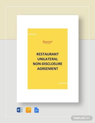 restaurant unilateral nondisclosure agreement