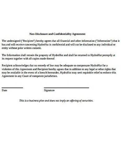 resto bar non disclosure agreement sample