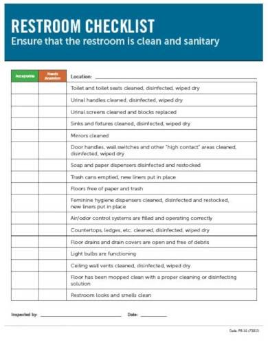 restroom checklist template