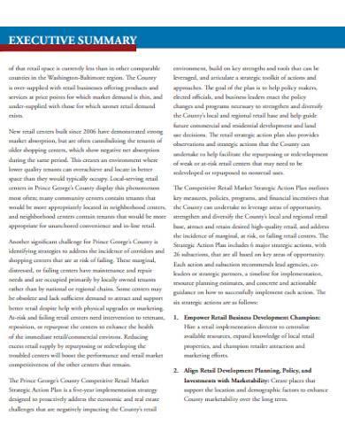retail marketing strategic action plan