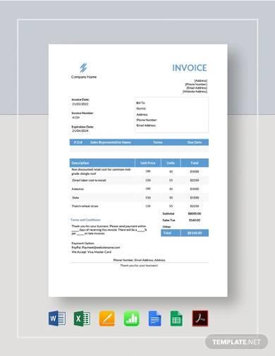 roofing estimate invoice template