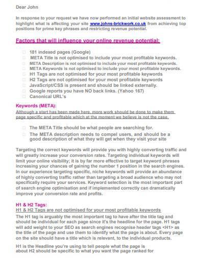 seo analysis report sample