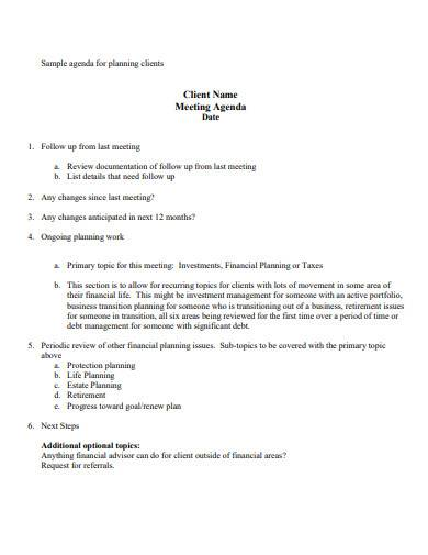 sample agenda for planning clients