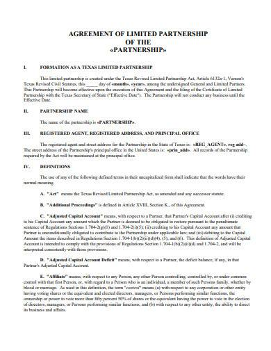 sample agreement of limited partnership