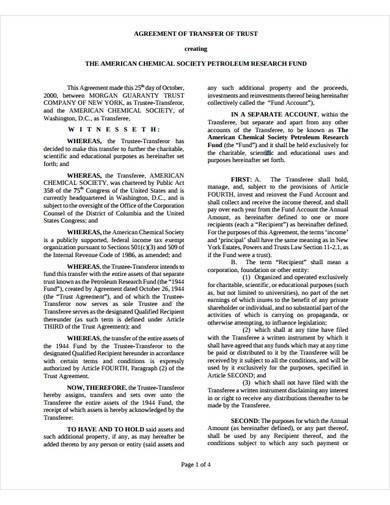 sample agreement of transfer of trust