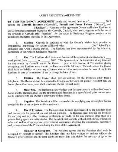 sample artist residency agreement