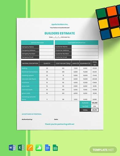 sample builders estimate template