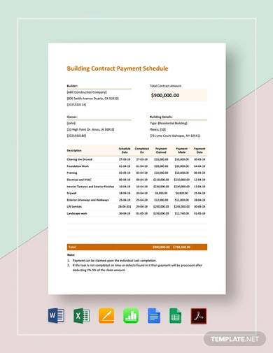 sample building contract payment schedule