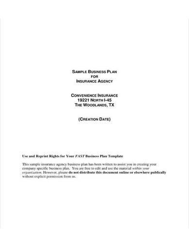 sample business plan for insurance agency