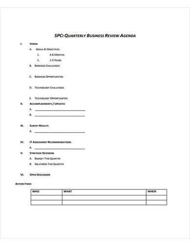 sample business review agenda