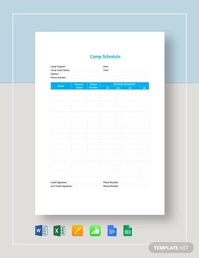 sample camp schedule template