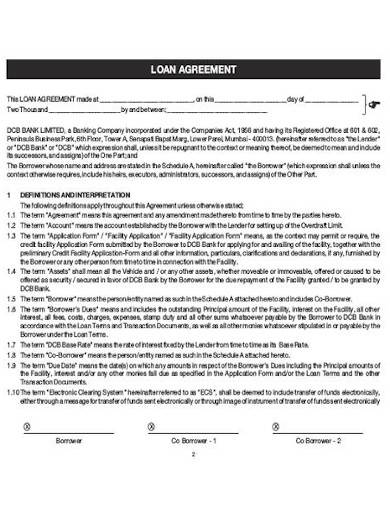 sample car loan agreement form