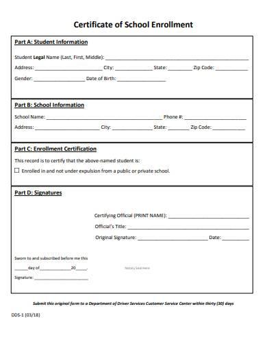 sample certificate of school enrollment