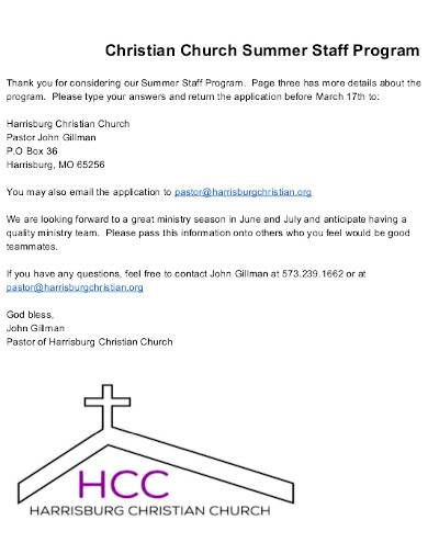 sample church summer staff program