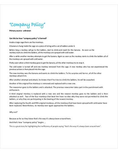 sample company policy template