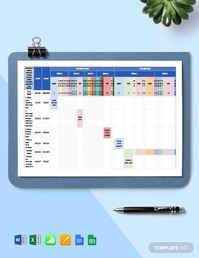 sample construction materials schedule