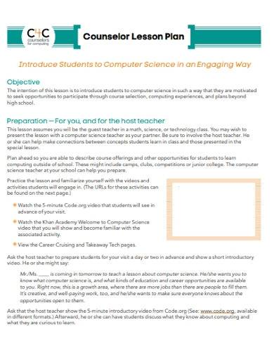 sample counselor lesson plan template