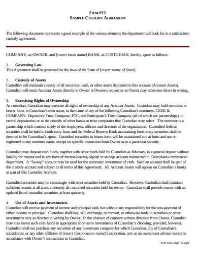 sample custody agreement format