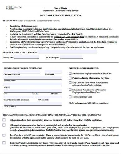 sample daycare services application form