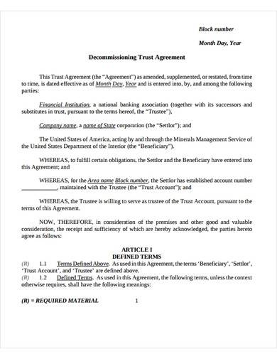 sample decommissioning trust agreement