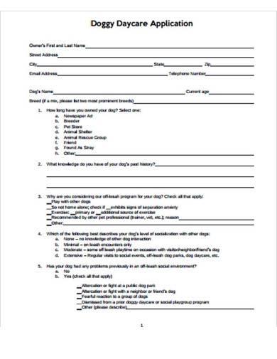 sample doggy daycare application