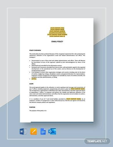 sample email policy template