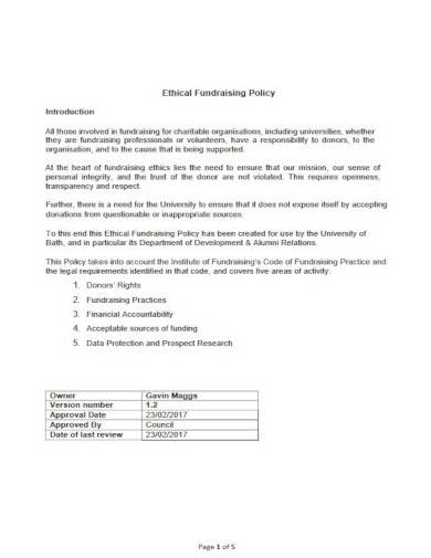 sample ethical fundraising policy