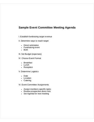 sample event committee meeting agenda