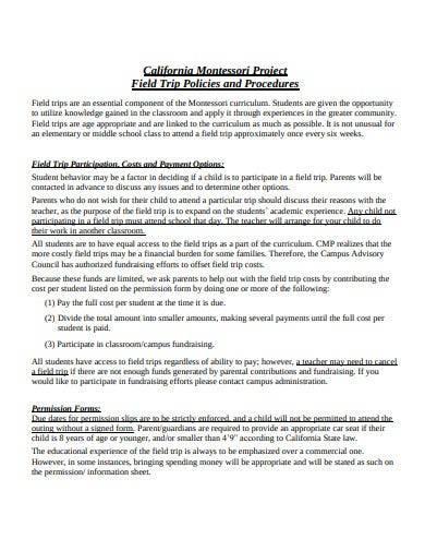sample field trip policies and procedures